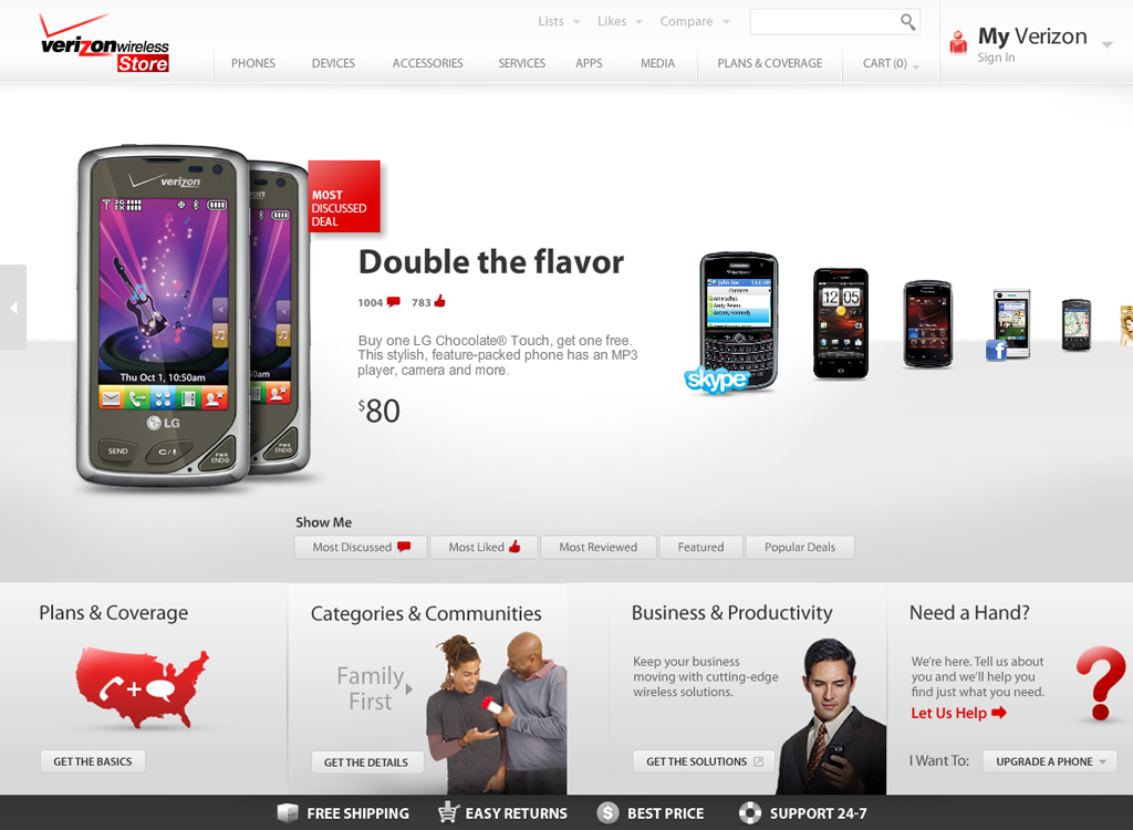 Verizon Wireless - Ecommerce Vision Prototype - Home